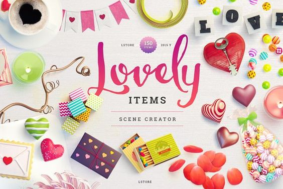 Lovely Items Scene Creator Valentine S Day 3d Typography And