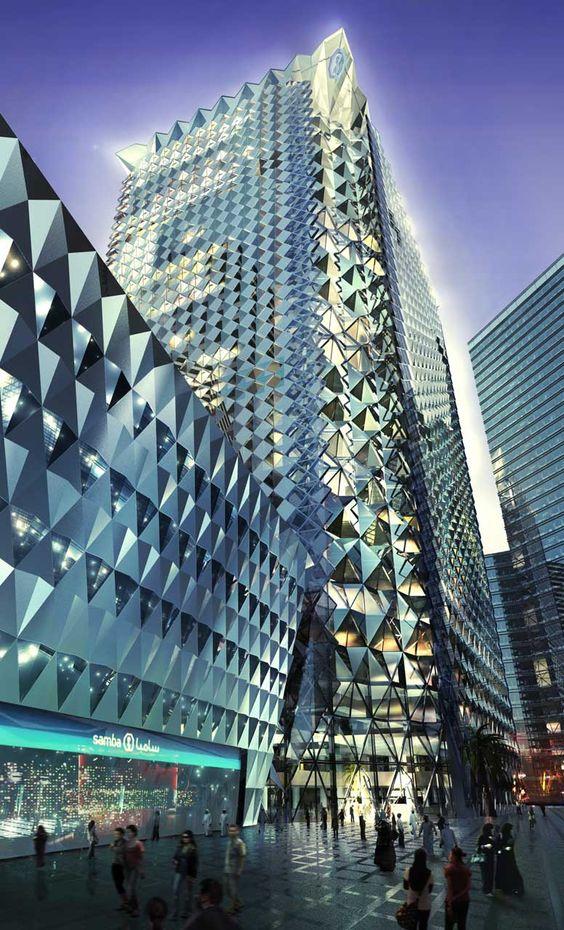 Samba Bank, Riyadh, Saudi Arabia. Foster+Partners. Exterior Visualisation.