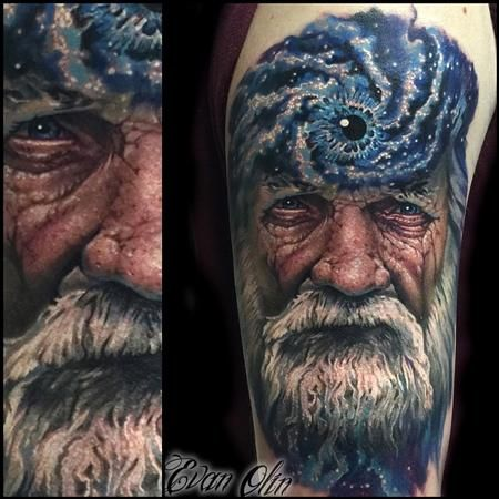 Evan Olin father time color portrait tattoo