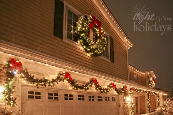 Exterior Christmas lighting idea.  Exactly what I want the outside of our house to look like at Christmas!