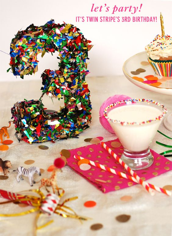 Twin Stripe 3rd birthday party complete with cupcakes, a cake batter martini, a…