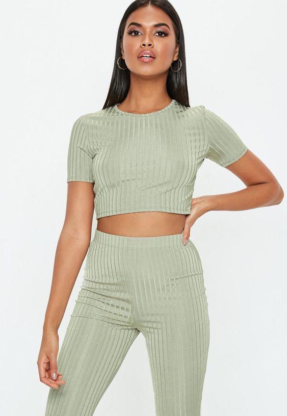 Petite Green Shiny Ribbed Crop T Shirt