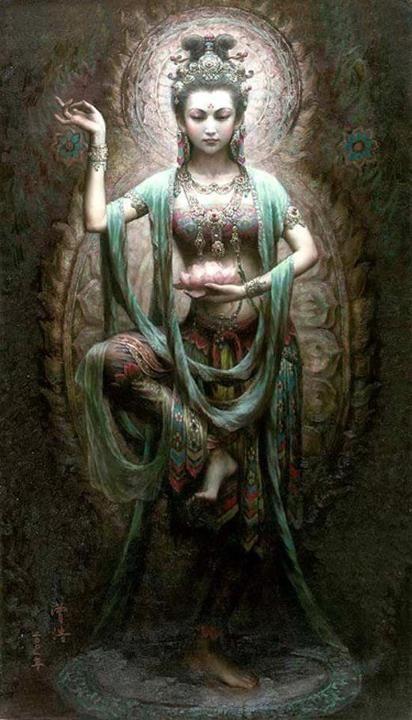 Kuan Yin (Buddhismo Cinese) Dea della compassione e guarigione.  Nel Taoismo è la Dea della misericordia: