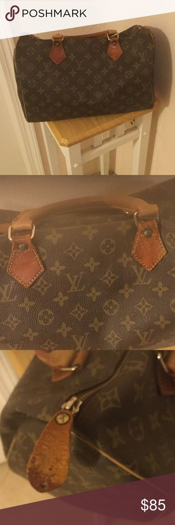 LV fashion handbag Not authentic, handles however are leather,  pretty! Handles are lighter than darkened patina on part of leather underneath because they were replaced. Bags Satchels