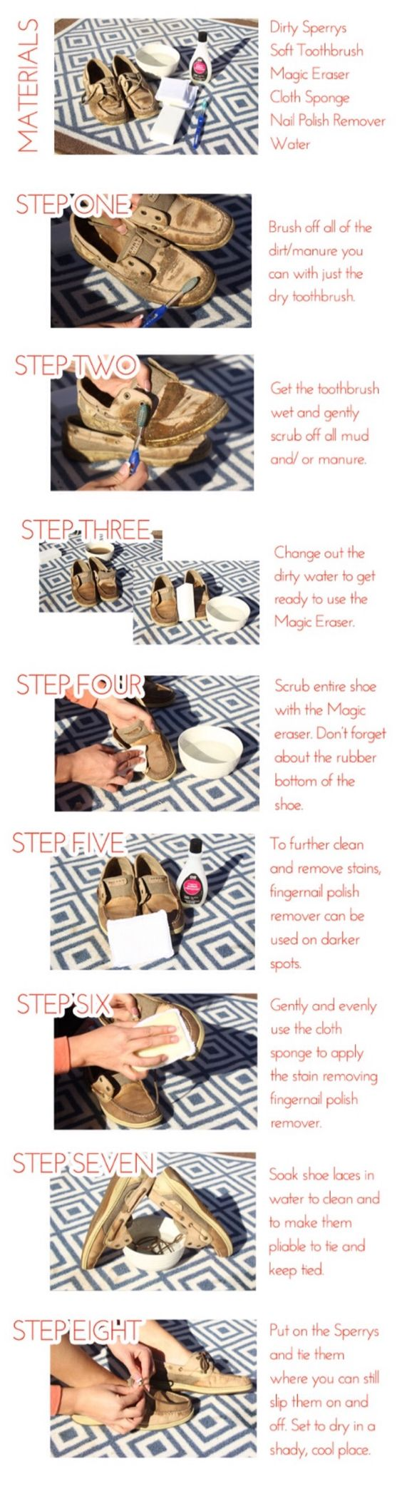 How to clean up my sperrys after show season!