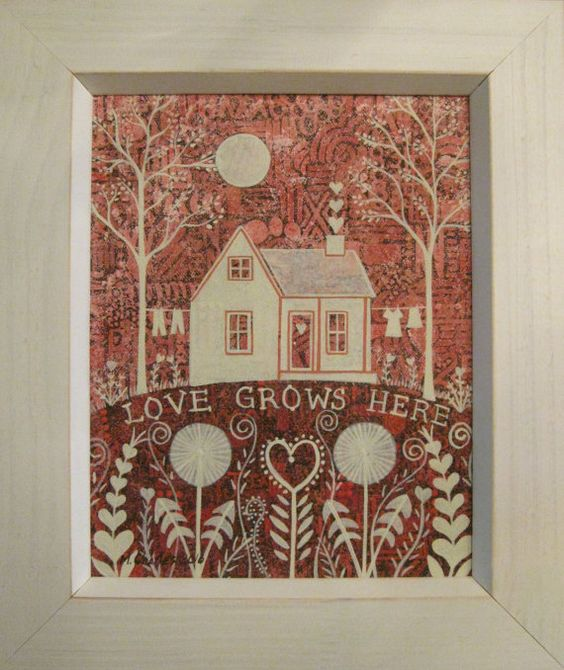 """Original Painting """"Love Grows Here"""" by Mary Charles.  Available on Etsy."""