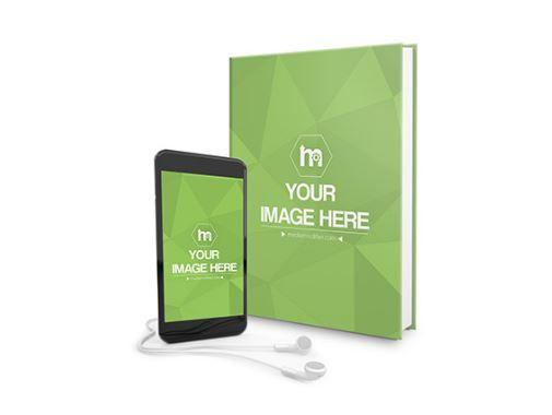 Hardcover Book And Iphone Audiobook Mockup Generator Product Books Smartphone Headphones Mockup Template Hardcover Book Audio Books Iphone