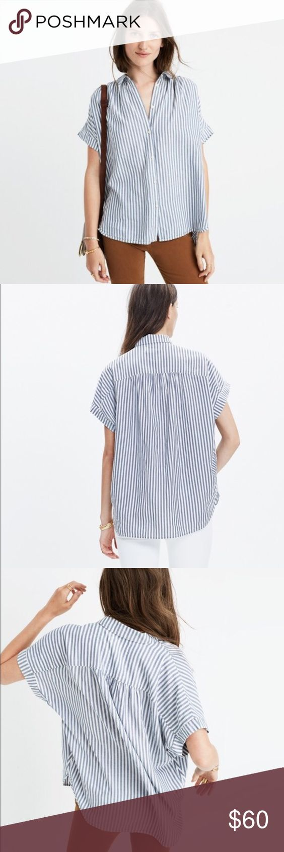 Madewell central shirt in chambray stripe Madewell central shirt in chambray stripe               ***this item is very lightly worn and still on the Madewell site for full price***                                  PRODUCT DETAILS (from Madewell website)  A feminine take on our favorite slightly oversized top, in a softer silhouette with drapey sleeves. Effortlessly cool and totally sexy.    Slightly oversized fit. Cotton. Machine wash. Madewell Tops