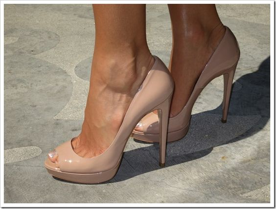 Perfect nude peep toe - Prada - if only I could handle 3 inch ...