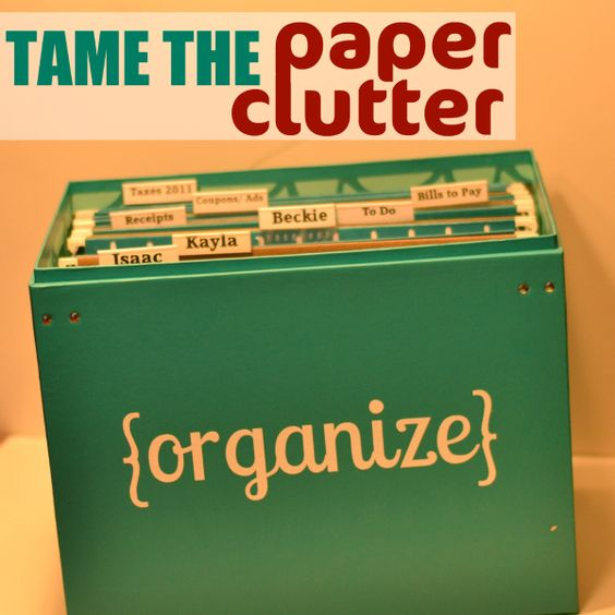 Organize the paper clutter with a file box for all of your household paper.
