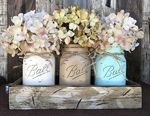 Mason Canning Jars Wood Antique White Spring Table Centerpieces Decorated Jars Mason Jar Decorations