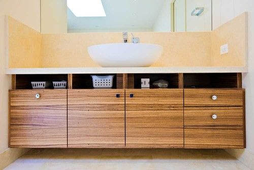 Bathroom Vanity Zebra Wood master bathroom retreat | zebra wood custom cabinets | soaking tub