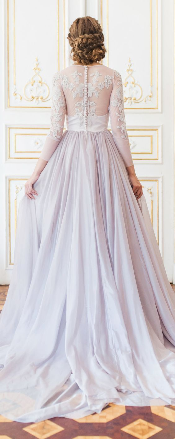 Lavender Wedding Gown With Sheer Sleeves And Floral Appliques Floating Down The Bodice By Ca Romantic Wedding Gown Wedding Dress Long Sleeve Gown Wedding Dress [ 1410 x 564 Pixel ]