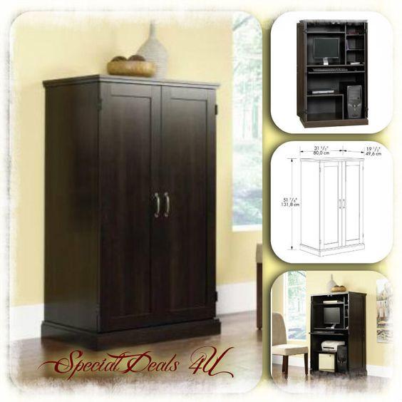 Details About Computer Armoire Desk Cabinet Sauder Wood
