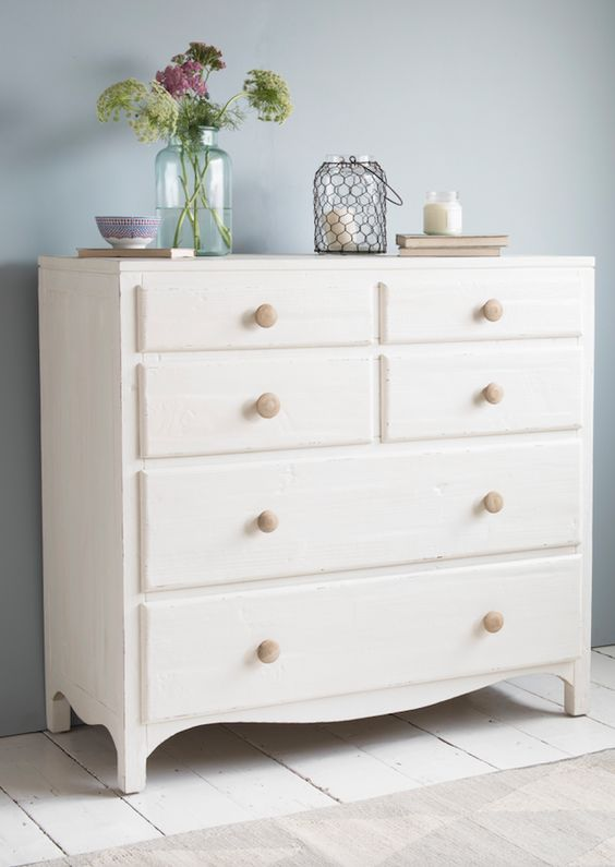 Loaf 39 s simple white chest of drawers with natural wooden handles and heaps of storage space in for White bedroom chest of drawers