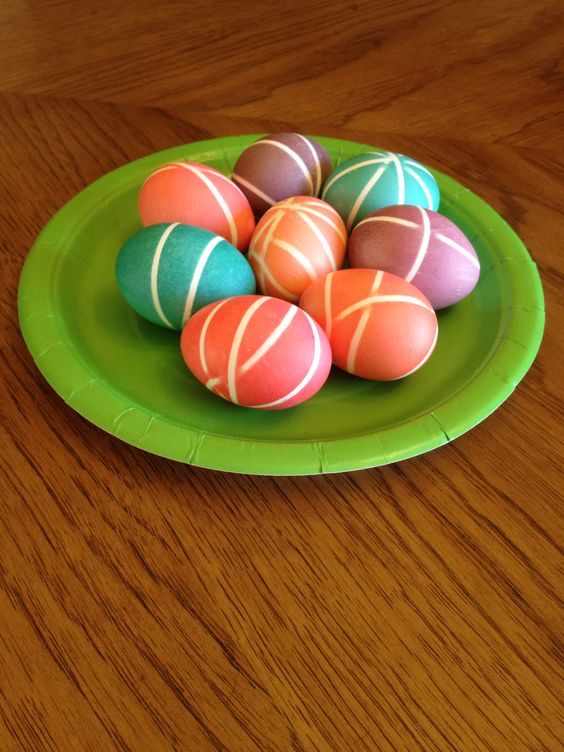 Decorated Easter Eggs (rubber bands and homemade dye)