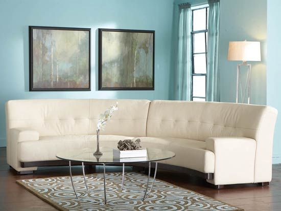 Dania-Mandalay 2pc Leather Curved Sectional cool shape to add interest like rug too | Basement Ideas | Pinterest | Mandalay Living rooms and Room : dania sectional - Sectionals, Sofas & Couches