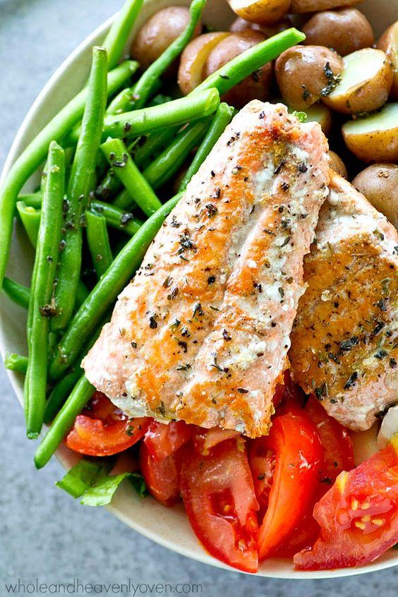 Golden seared salmon, tender fingerling potatoes and fresh green beans ...