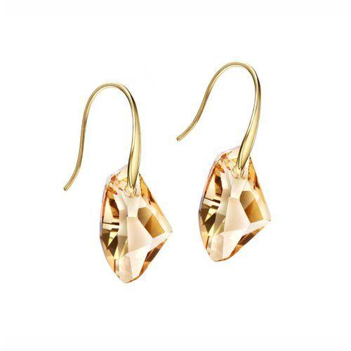 Neoglory Swarovski Elements Mujer Pendientes Colgantes Oro 14K Enchapado Piedra Cristal Austriaco Amarillo Joya Original Regalos para Mujer