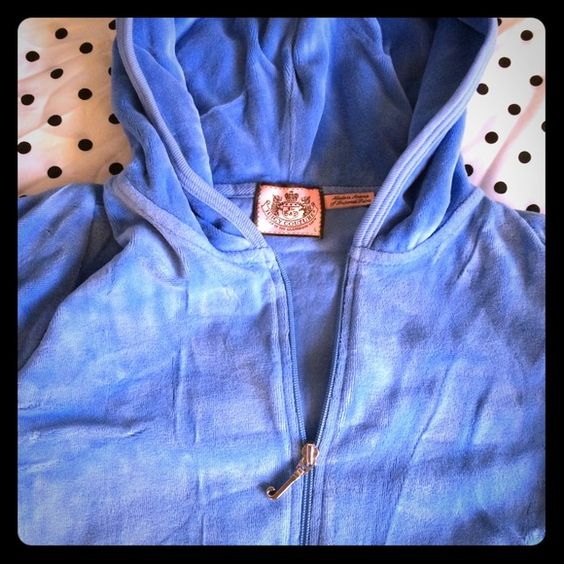 "Juicy Couture blue velour zip up hoodie, sz L Perfect condition, work once, blue velour Juicy Couture zip up hoodie. Has decorative peace sign with words ""Juicy Couture Flower Child"" on back. Very cute, matching pants also for sale! Size large. Juicy Couture Tops Sweatshirts & Hoodies"