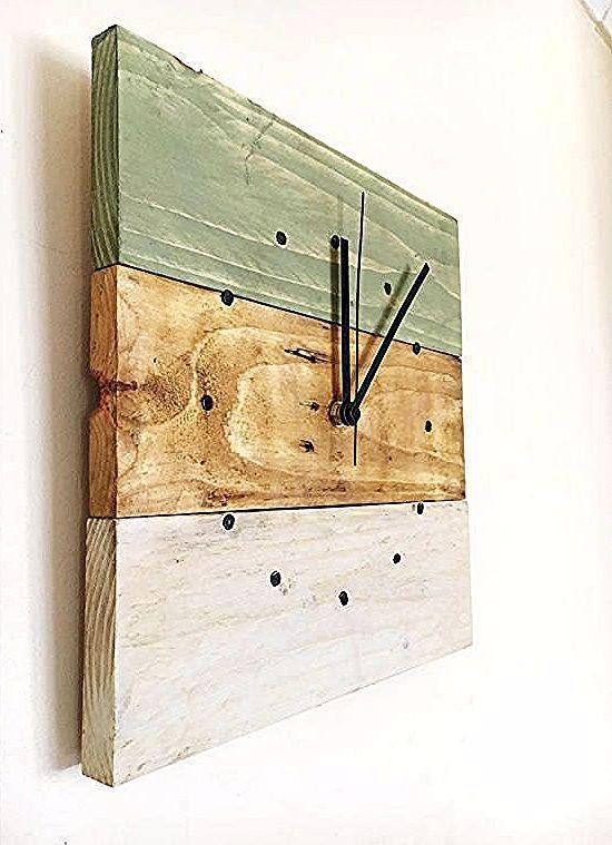 Wood Clock Rustic Wall Clock Reclaimed Wood Wall Clock Wall Clock Pallet Wood Clock In 2020 Wood Wall Clock Diy Wood Wall Wall Clock Wooden