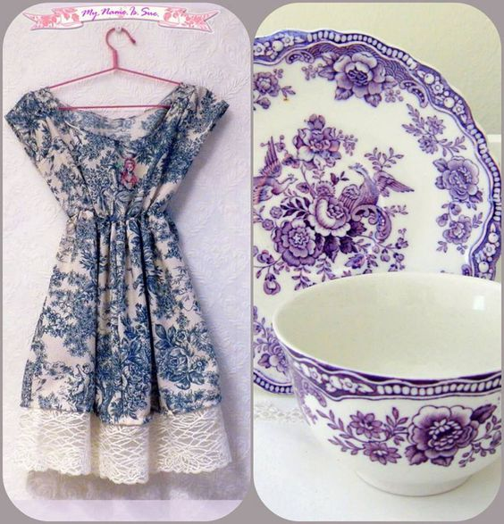 Blue cute dress  porselain illustrated with by MyNameIsSueclothes, €65.00