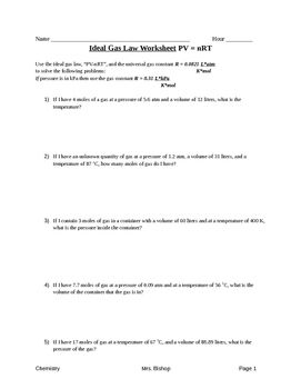Ideal Gas Law Worksheet With Images Ideal Gas Law Worksheets