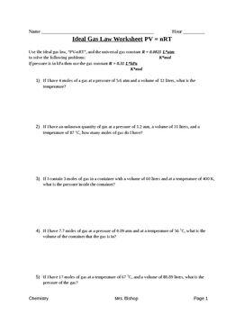 Ideal Gas Law Worksheet Answers - Thekidsworksheet