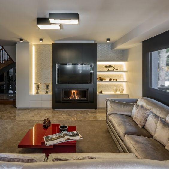 La ca ada salon y chimenea dise o de interior chimeneas - App diseno de interiores ...