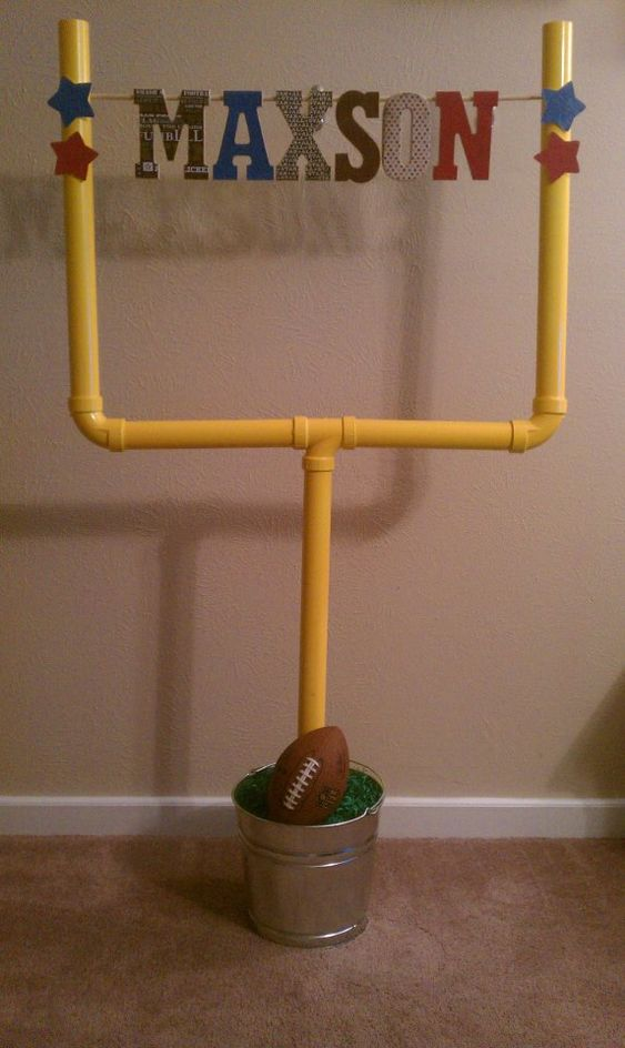 Didn't it turn out great!!!!! Football Field Goal for Baby Shower!!