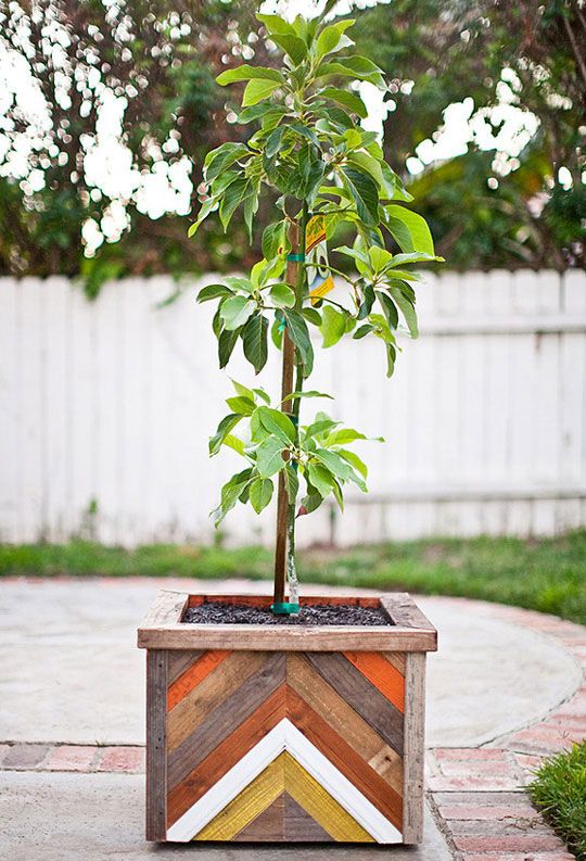 Chevron Recycled Wood Planter from The 91204 Blog