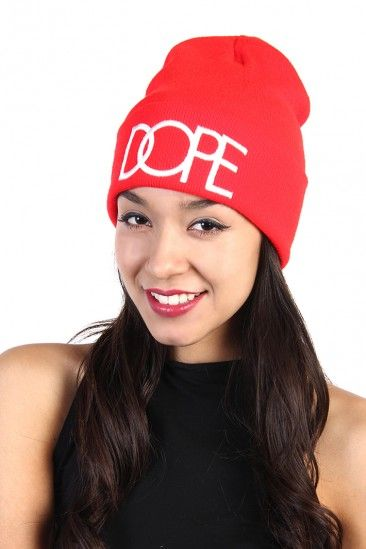 Dope Print Beanie - Red / White
