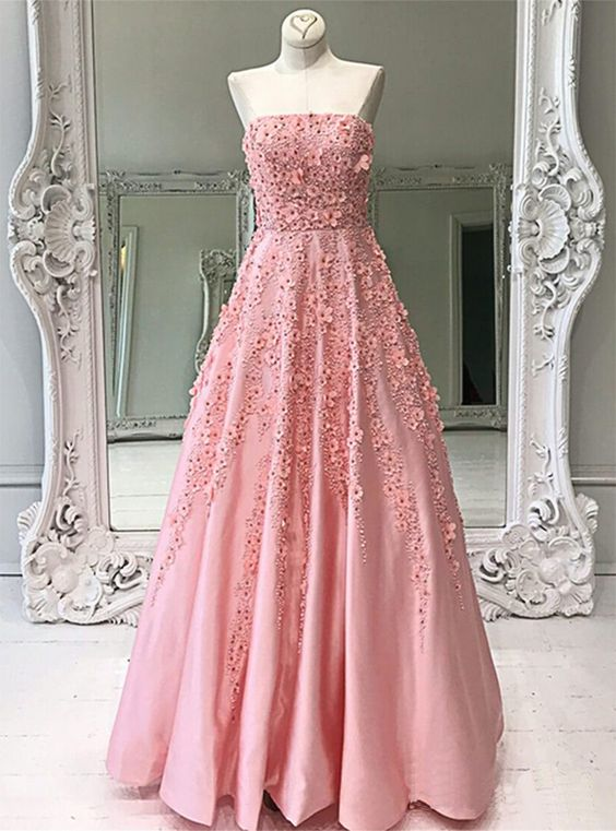 Strapless Pink Satin Crystal Applique Long Prom Dress For Teens promdress prom dress