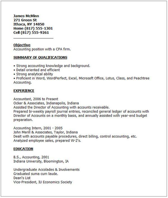 Undergraduate Resume Sample Bridget Ferguson Bferguson1661 On Pinterest
