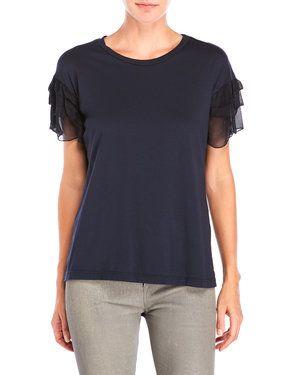 Ruffle Sleeve Jersey T-Shirt