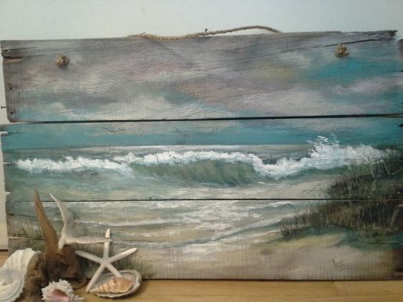 Original Ocean Beach Seascape painting on Reclaimed Salvaged wood  This painting is SOLD.  Please custom order another for $265.00 at ShePaintedEverything.etsy.com  More choices available also.