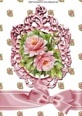 Pretty pink roses and bow in ornate frame A4 on Craftsuprint - Add To Basket!: