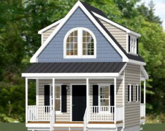 16x16 House 1 Bedroom 1 5 Bath 492 Sq Ft Pdf Floor Etsy In 2020 Cottage House Plans Building A House Small House Plans