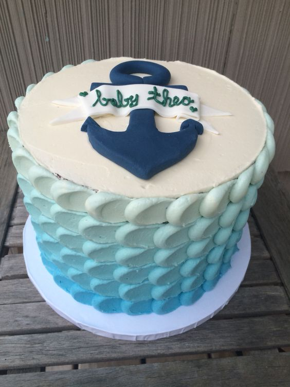 Triple layer baby boy baby shower cake with blue ombre ...