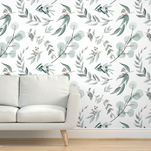 Farbenfrohe Stoffe Digital Gedruckt Von Spoonflower In 2020 Botanical Wallpaper Large Scale Wallpaper Nature Inspired Living Room
