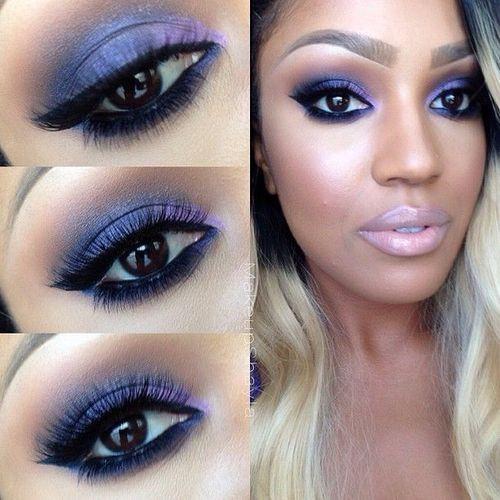 Purple smokey eye.