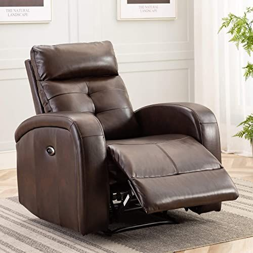 New Anj Electric Recliner Chair Oversize Breathable Bonded Leather Extra Wide Electric Power Recliner Usb Charge Port Home Theater Seating Bedroom Living In 2020 Home Theater Seating Brown Furniture