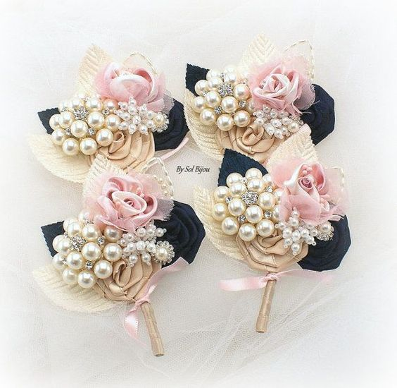 Brooch Boutonnieres, Blush, Gold, Navy Blue, Corsages, Groom, Groomsmen, Button Hole, Mother of the Bride, Pearls, Crystals, Vintage Style