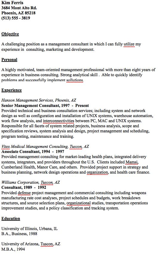 Example Of Management Consultant Resume -    resumesdesign - management consulting resume