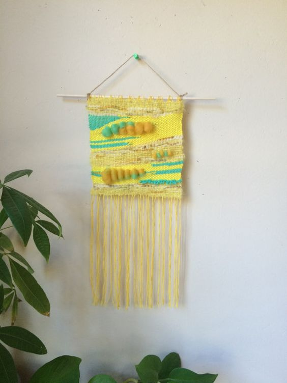 Hand Woven Wall Hanging  Dahlia by threaddict on Etsy