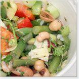 salade légumineuse et fèves