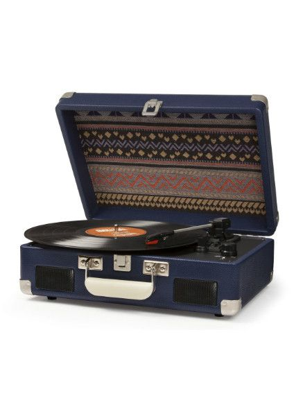 This one's a little unique, with a gorgeous quilted background. Best of all, you can carry this adorable portable turntable anywhere! PLAYS: - Records CAN: - Play 33 1/3, 45, and 78 RPM records - Be c