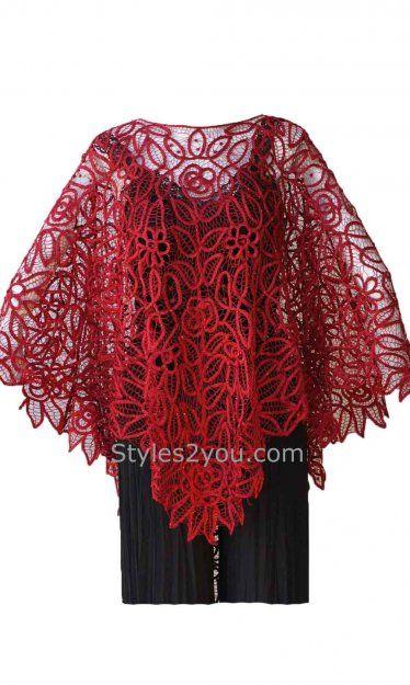 Red Silk Baton Burg Poncho