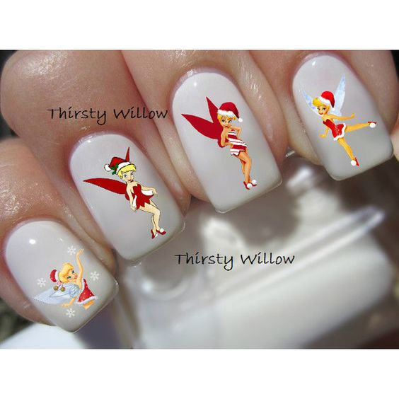 Christmas Tinkerbell Nail Decals ($2.99) ❤ liked on Polyvore featuring beauty products, nail care and nail treatments
