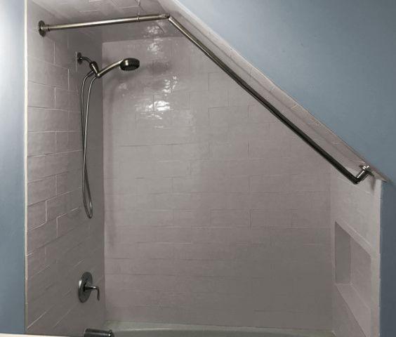 Sloped Kit For Angled Ceiling Sloped Ceiling Bathroom Attic Shower Shower Curtain Rods Angled shower curtain rod